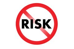Geen afkerig risico of risico Verboden belemmerd die cirkel en woord in rood wordt gekruist stock illustratie