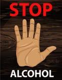 Geen alcohol De hand toont een gebaar van einde Vector Affiche  stock illustratie