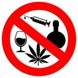 Geen alcohol en drugsteken stock illustratie