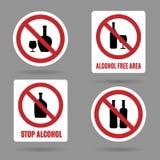 Geen alcohol en vrije gebieds vectortekens Stock Afbeelding