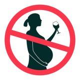 Geen alcohol tijdens vector het tekenillustratie van de zwangerschapsperiode die op witte achtergrond wordt geïsoleerd vector illustratie