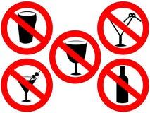Geen alcoholtekens Royalty-vrije Stock Foto's