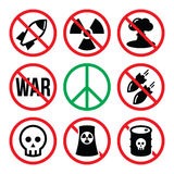 Geen atoomwapen, geen oorlog, geen bommenwaarschuwingsborden Royalty-vrije Stock Foto's