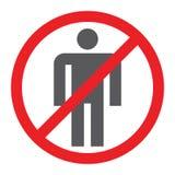 Geen belemmerd mensen glyph pictogram, en verbod, geen menselijk teken, vectorafbeeldingen, een stevig patroon op een witte achte royalty-vrije illustratie