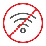Geen belemmerd pictogram van de wifilijn, en verbod, Internet verboden teken, vectorafbeeldingen, een lineair patroon op een witt stock illustratie
