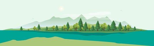 Geen-Berglandschaft mit Baum-Natur-Hintergrund