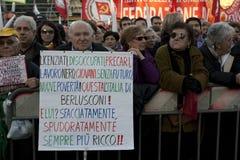 Geen Berlusconi dag, Rome 5/12/09 Royalty-vrije Stock Afbeeldingen
