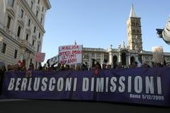 Geen Berlusconi dag, Rome 5/12/09 Stock Afbeelding