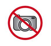 Geen camera's toegestaan teken Rood verbod geen camerateken Geen nemende beelden, geen foto's ondertekenen  stock illustratie