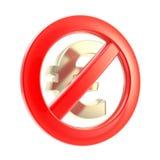 Geen contant geldteken als gekruist euro symbool Stock Foto