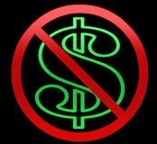 Geen Dollars/Illustratie van het geld Royalty-vrije Stock Afbeeldingen