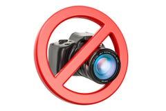 Geen fotoconcept Verboden teken met digitale camera, 3D renderi Royalty-vrije Stock Foto's