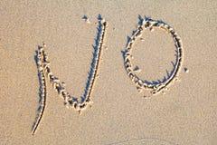 Geen geschreven in het zand Stock Foto