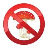Geen gevaarlijk toxineteken. Giftige paddestoelpaddestoel stock illustratie