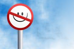 Geen het glimlachen teken Stock Fotografie