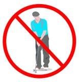 Geen het golfteken van het spelspel golfmens met het golfspel van het golfclubs niet spel op witte achtergrond wordt geïsoleerd d royalty-vrije illustratie