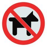 Geen hondenhuisdieren stonden waarschuwingssein geïsoleerdev signage toe Stock Foto