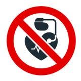 Geen ingang voor mensen met pacemaker verbiedend teken stock illustratie