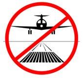 GEEN landend Pictogram vliegtuig geen land op de geïsoleerde baan Vector illustratie neer landend niet vector illustratie