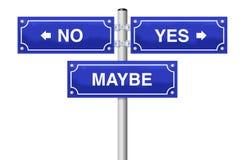 Geen maak ja misschien Besluitstraat ondertekenen vector illustratie