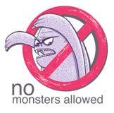 Geen monster allowd teken Stock Foto