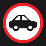 Geen motor en auto ondertekenen vlak pictogram royalty-vrije illustratie