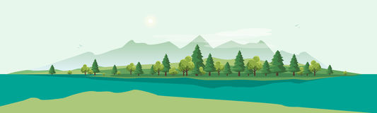 Geen Mountain Landscape with Trees Nature Background Royalty Free Stock Photos