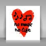 Geen muziek geen het levenskaart Royalty-vrije Stock Foto's