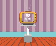 Geen nieuws - vectortekening van een TELEVISIE met het geen-nieuwsscherm Stock Foto's