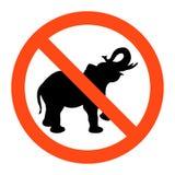 Geen olifantsteken, vector illustratioon op witte achtergrond royalty-vrije illustratie