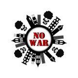 Geen oorlogsbanner met gebouwen en rookexplosie royalty-vrije illustratie