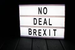 Geen overeenkomsten brexit tekst in lightbox royalty-vrije stock afbeelding