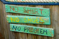 Geen Overhemd, Geen Schoenen, Geen Probleem Stock Foto's