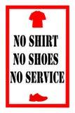 Geen overhemd geen schoenenteken Stock Afbeeldingen