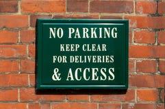 Geen Parkeren houdt voor leveringen & toegang duidelijk Royalty-vrije Stock Foto's