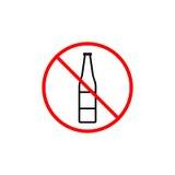 Geen pictogram van de alcohollijn, verboden verbodsteken, royalty-vrije illustratie