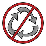 Geen recyclingssymbool Stock Foto