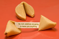Geen Rich Relatives Fortune Cookie Royalty-vrije Stock Foto's