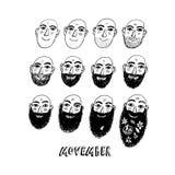 Geen scheerbeurt november of Movember-illustratie Royalty-vrije Stock Afbeeldingen
