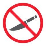 Geen scherp glyphpictogram, verbod en verboden royalty-vrije illustratie