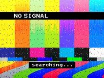 Geen signaalglitch TV Vervormde rassenbarrières Digitale glitch vervorming Het scherm met kleurenbars en lawaai Vector stock illustratie
