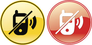 Geen Symbool van het Teken van het Etiket van de Telefoon Cellphones Stock Foto's