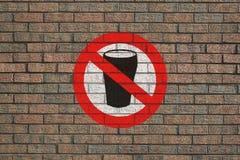 Geen teken van de Alcohol op muur Stock Foto's