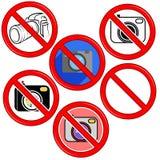 Geen teken van de fotocamera Geen Knoop van het fotopictogram Stock Foto