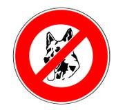 Geen toegestane honden ondertekenen met een symbool van een Duits herdersgezicht vector illustratie
