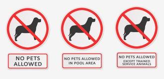 Geen Toegestane Huisdieren Reeks tekens Stock Fotografie