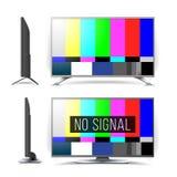 Geen Vector van het de Testpatroon van Signaaltv LCD Monitor Vlakke het schermTV De rassenbarrièressignaal van de televisie Analo vector illustratie