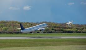 Geen vliegstreek van een luchtruim bij de luchthaven royalty-vrije stock fotografie