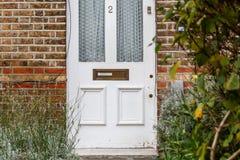 Geen voorzorgsmaatregel van de troeppost op deur, Londen stock foto