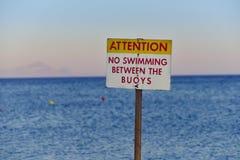 Geen zwemmend aandachtsteken Stock Foto's